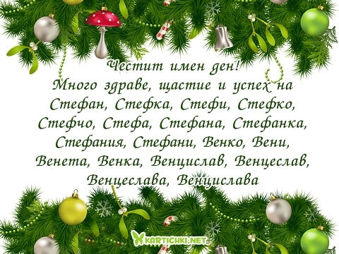 Честит имен ден! Много здраве, щастие и успех на Стефан, Стефка, Стефи, Стефко, Стефчо