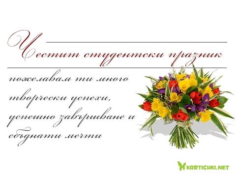 Честит студентски празник, пожелавам ти много творчески успехи, успешно завършване и сбъднати мечти