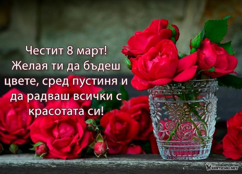 Честит 8 март! Желая ти да бъдеш цвете, сред пустиня